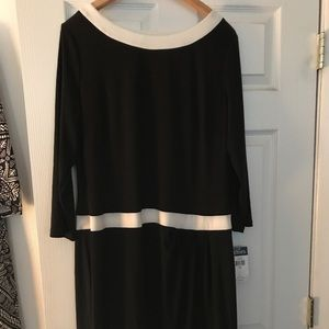 Chaps Black and Cream Dress